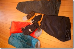 Clothes, socks and drybags